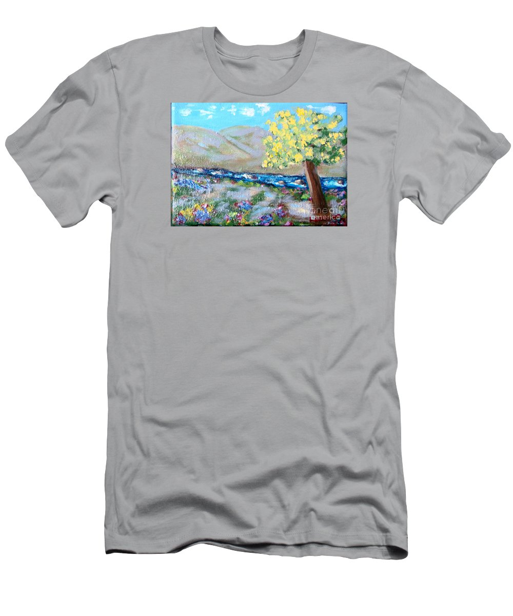 Landscapes Men's T-Shirt (Athletic Fit) featuring the painting A Quiet Place by Laurie Morgan