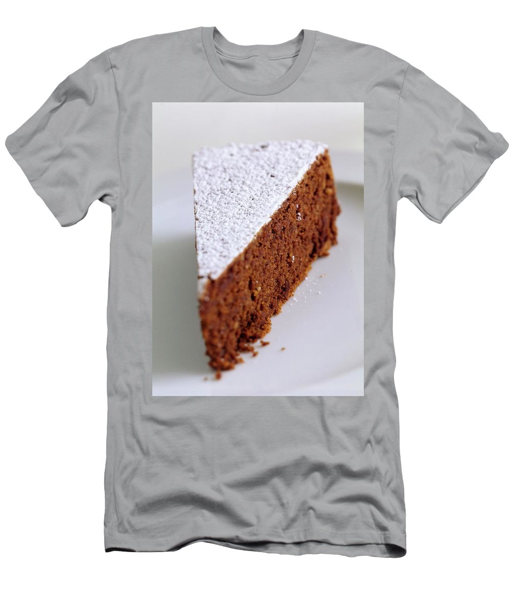 Cooking Men's T-Shirt (Athletic Fit) featuring the photograph A Slice Of Chocolate Raspberry Ganache Cake by Romulo Yanes