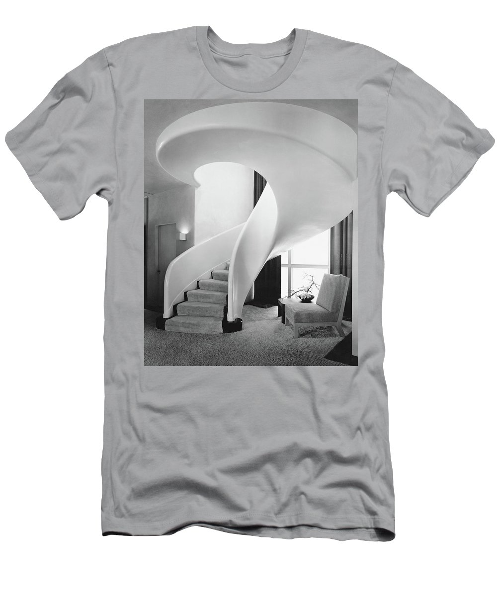 Interior T-Shirt featuring the photograph A Spiral Staircase by Hedrich-Blessing