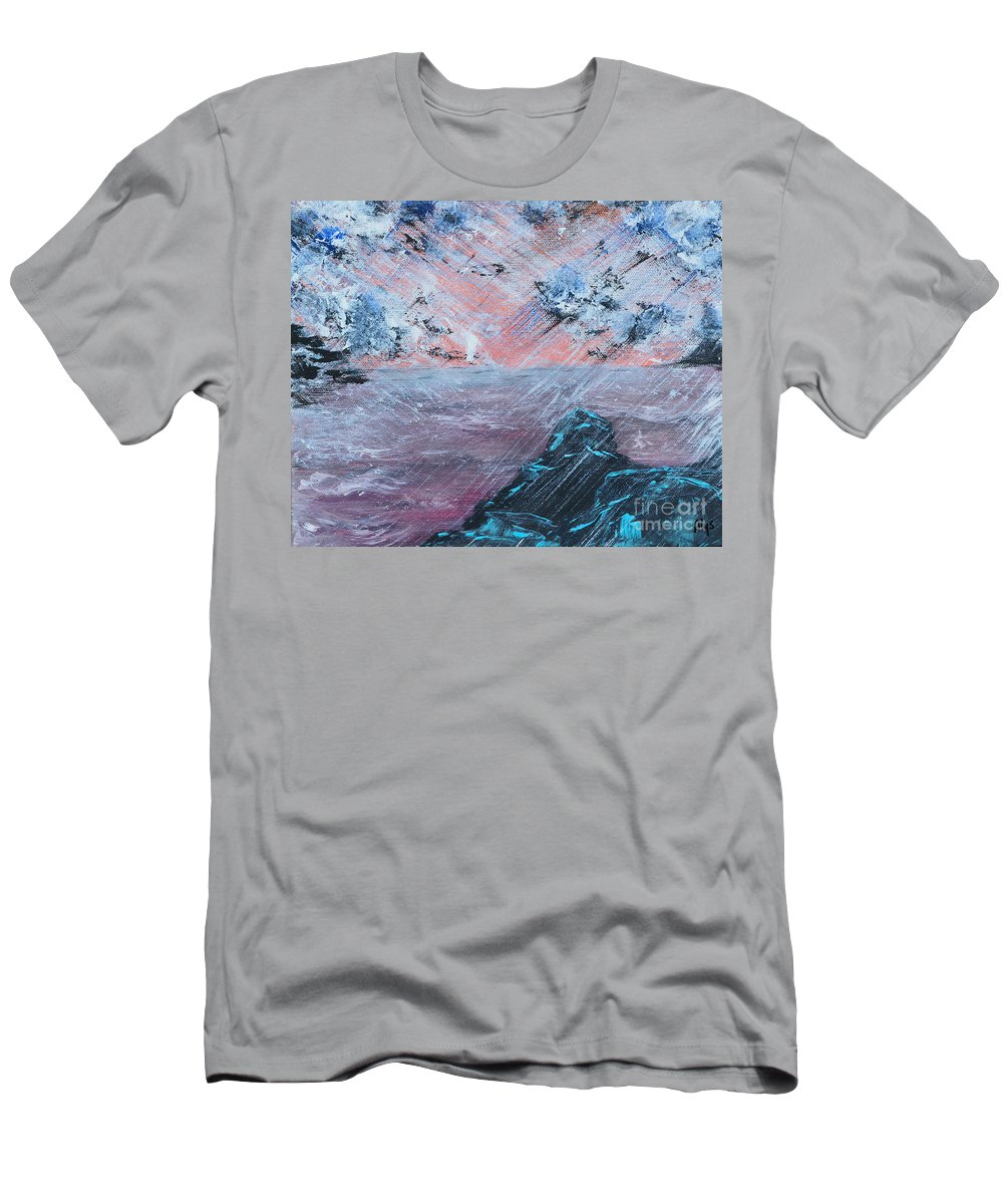 Sunrise Men's T-Shirt (Athletic Fit) featuring the painting Stormy Weather by Alys Caviness-Gober