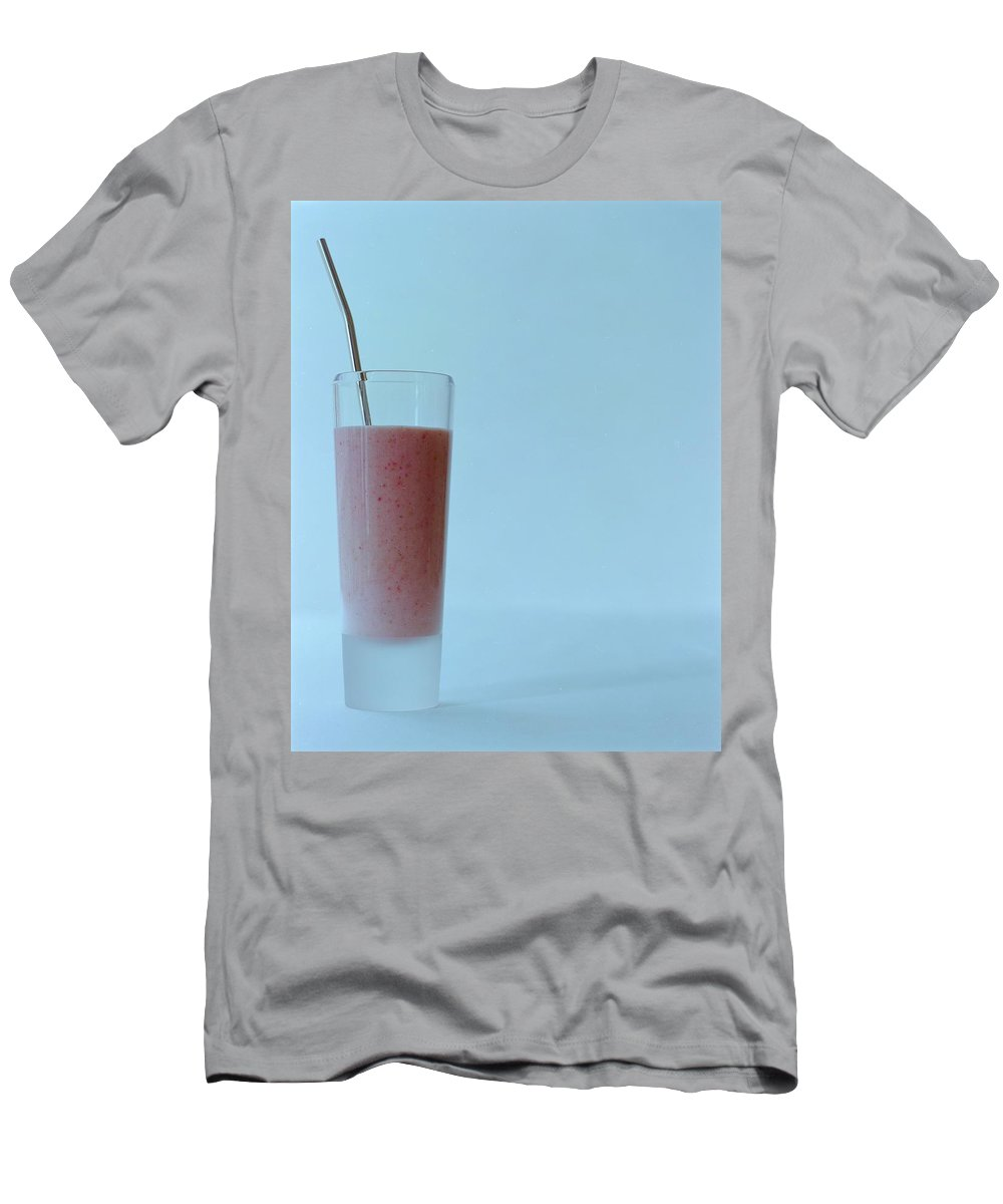 Beverage Men's T-Shirt (Athletic Fit) featuring the photograph A Strawberry Flavored Drink by Romulo Yanes