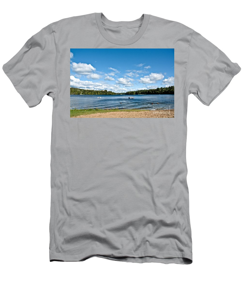 Beach Men's T-Shirt (Athletic Fit) featuring the photograph A Swim In The Lake by Cheryl Baxter