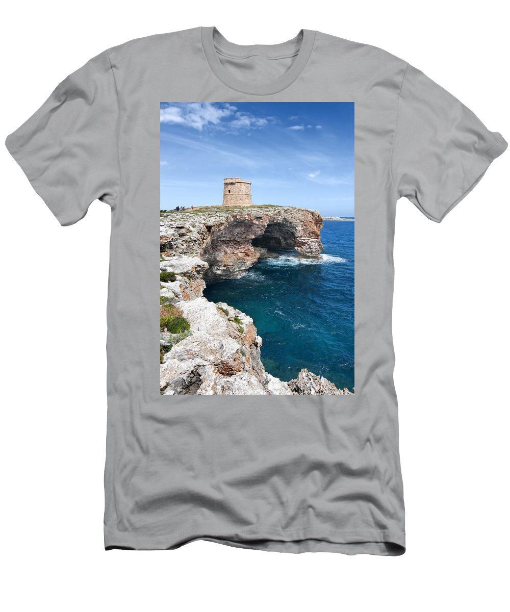Architecture Men's T-Shirt (Athletic Fit) featuring the photograph Xviii Defensive Tower In Alcafar Minorca - A Walk About Cliffs by Pedro Cardona Llambias