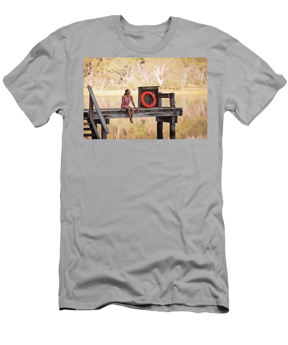 35-39 Years Men's T-Shirt (Athletic Fit) featuring the photograph A Woman Is Sitting By A Lake, Mount by Andrew Peacock