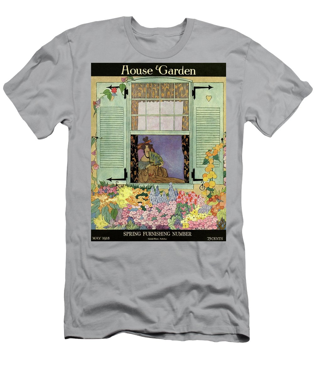 House And Garden Men's T-Shirt (Athletic Fit) featuring the photograph A Woman With A Fan by Helen Dryden