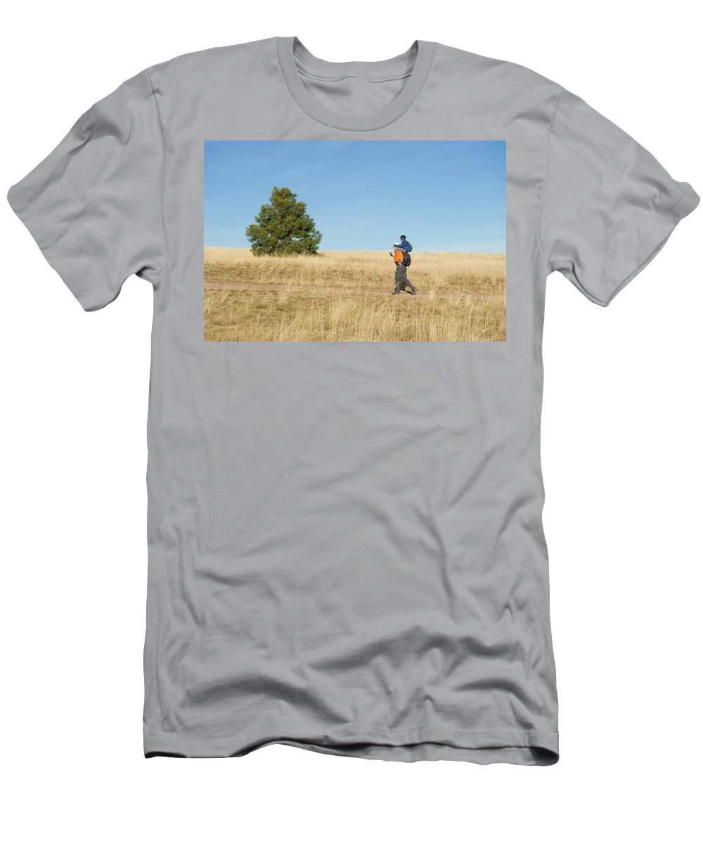 Adult Men's T-Shirt (Athletic Fit) featuring the photograph A Young Boy Rides On His Dads Shoulders by Doug Marshall