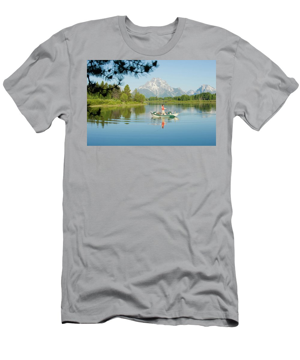 30-34 Years Men's T-Shirt (Athletic Fit) featuring the photograph A Young Man Fly Fishes From His Drift by Doug Marshall