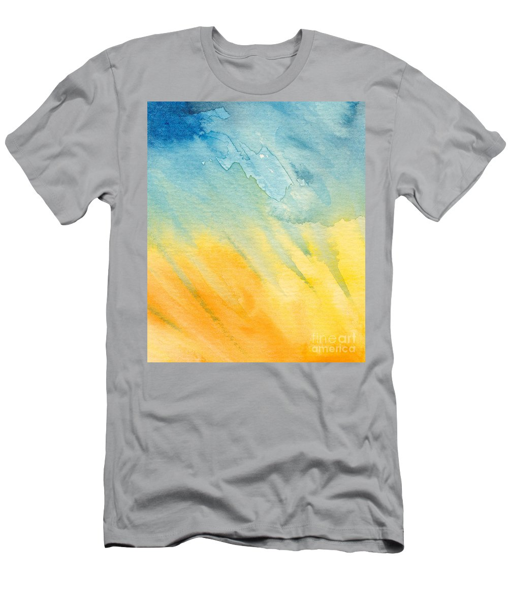 Abstract Men's T-Shirt (Athletic Fit) featuring the painting Abstract Blue And Yellow by Kerstin Ivarsson