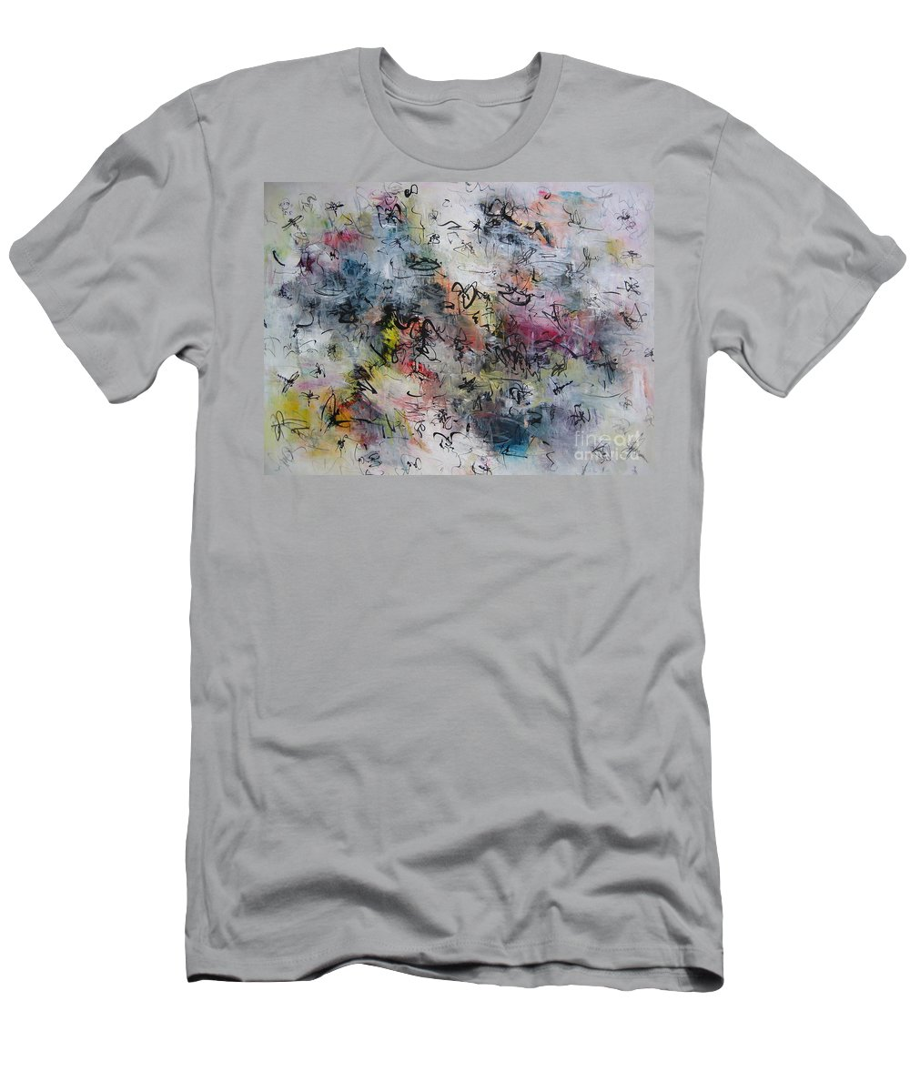 Butterfly Paintings Men's T-Shirt (Athletic Fit) featuring the painting Abstract Butterfly Dragonfly Painting by Seon-Jeong Kim