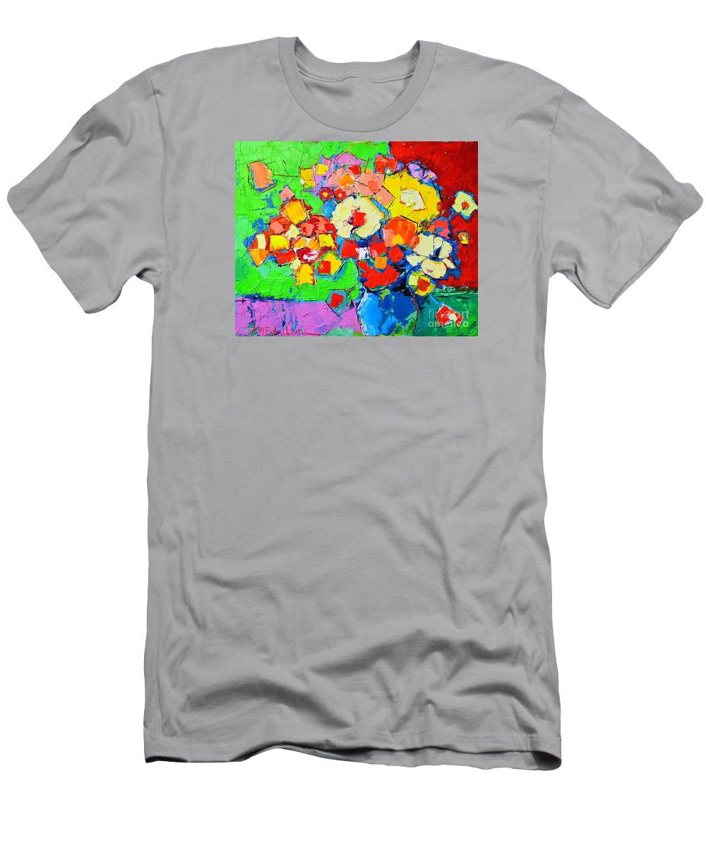 Abstract Men's T-Shirt (Athletic Fit) featuring the painting Abstract Colorful Flowers by Ana Maria Edulescu