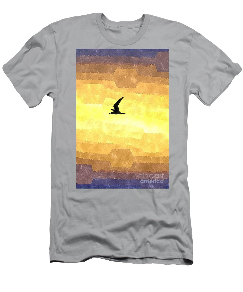 Nature Men's T-Shirt (Athletic Fit) featuring the photograph Abstract Seagull Flight by Brian Raggatt