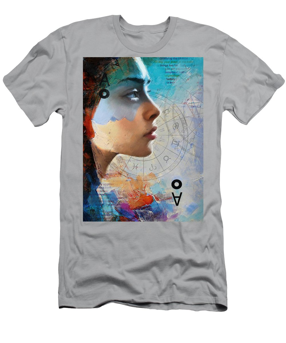 Virgo Men's T-Shirt (Athletic Fit) featuring the painting Abstract Tarot Art 019 by Corporate Art Task Force