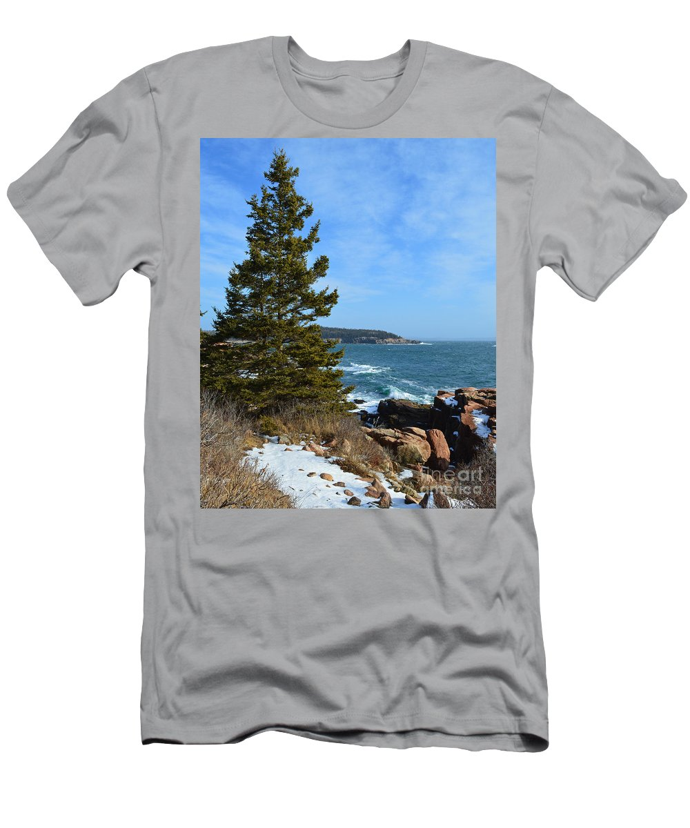 Acadia Men's T-Shirt (Athletic Fit) featuring the photograph Acadian Shores In Winter by Meandering Photography