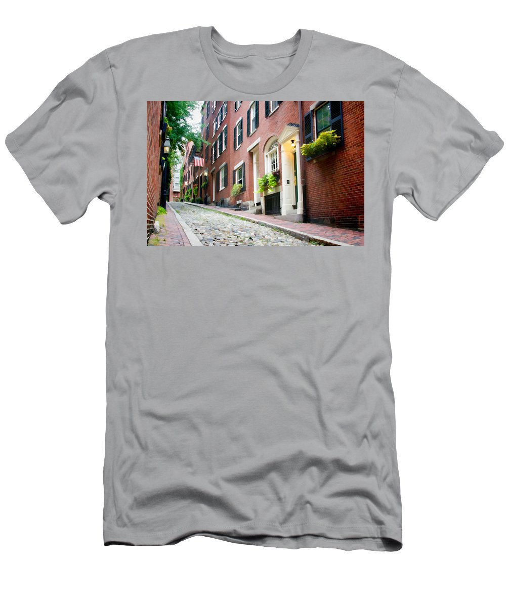 Boston Men's T-Shirt (Athletic Fit) featuring the photograph Acorn Street 2 by Natalie Rotman Cote