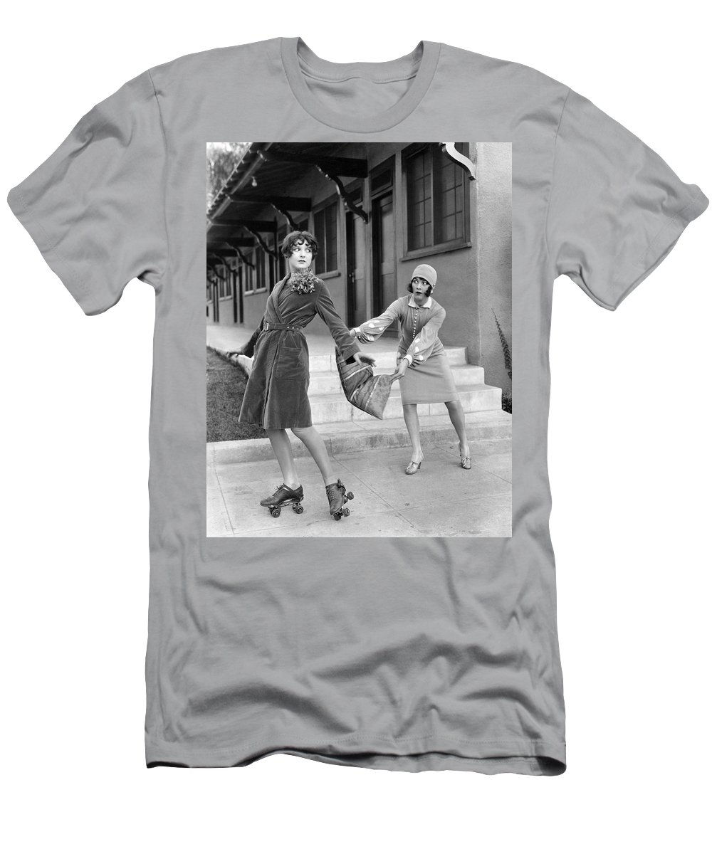 1920s Men's T-Shirt (Athletic Fit) featuring the photograph Actresses On Roller Skates by Underwood Archives