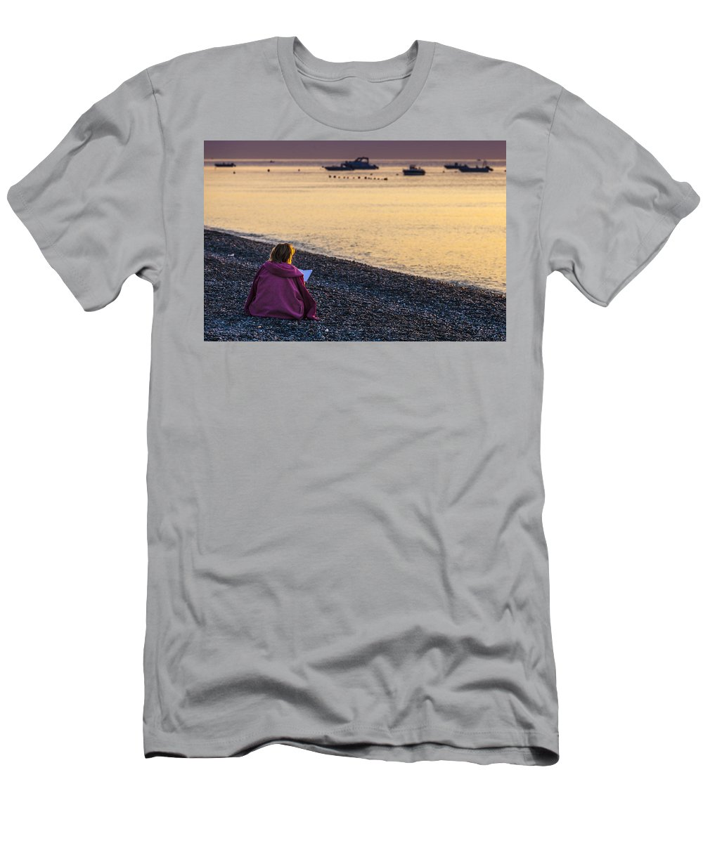 Prayer Men's T-Shirt (Athletic Fit) featuring the photograph Addressing A Prayer For The New Day by Alfio Finocchiaro