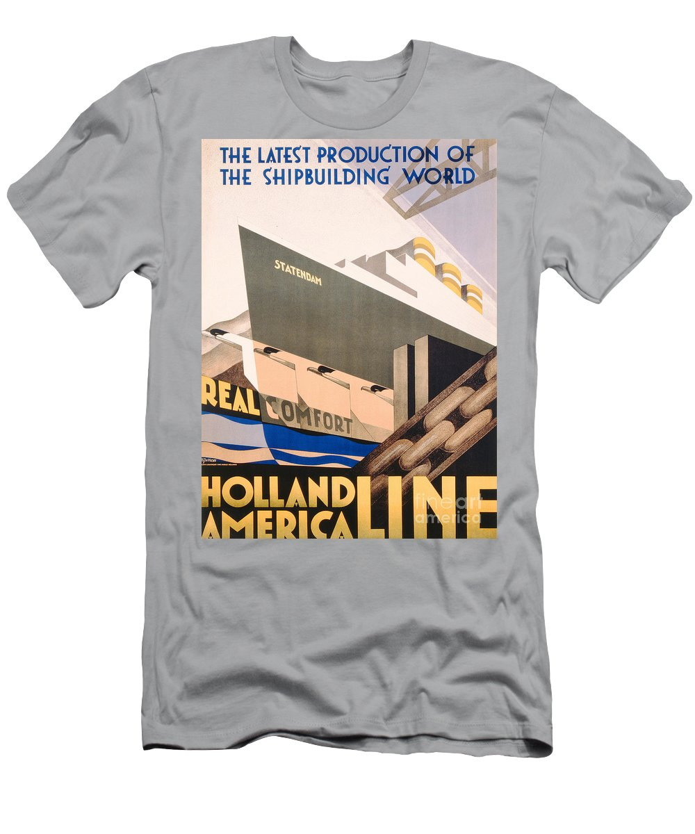 Art Deco T-Shirt featuring the painting Advertisement For The Holland America Line by Hoff