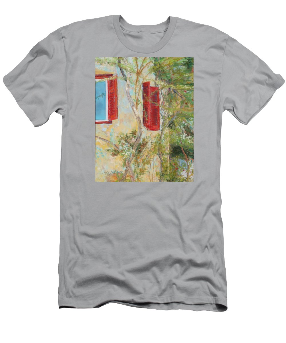 Europe Men's T-Shirt (Athletic Fit) featuring the painting Afternoon In Athens by Mary Benke