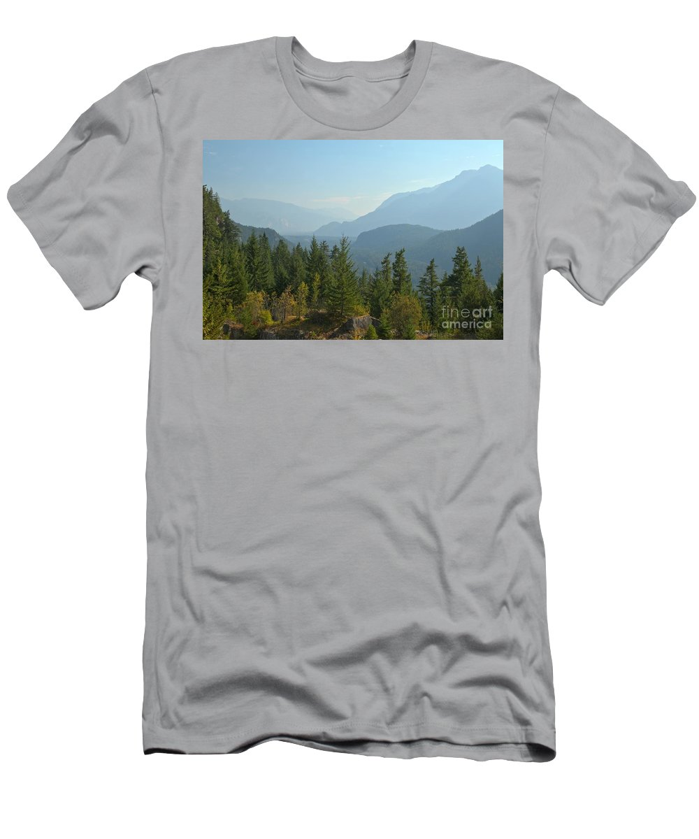 Tantalus Men's T-Shirt (Athletic Fit) featuring the photograph Afternoon Smoke At The Tantalus Mountains by Adam Jewell