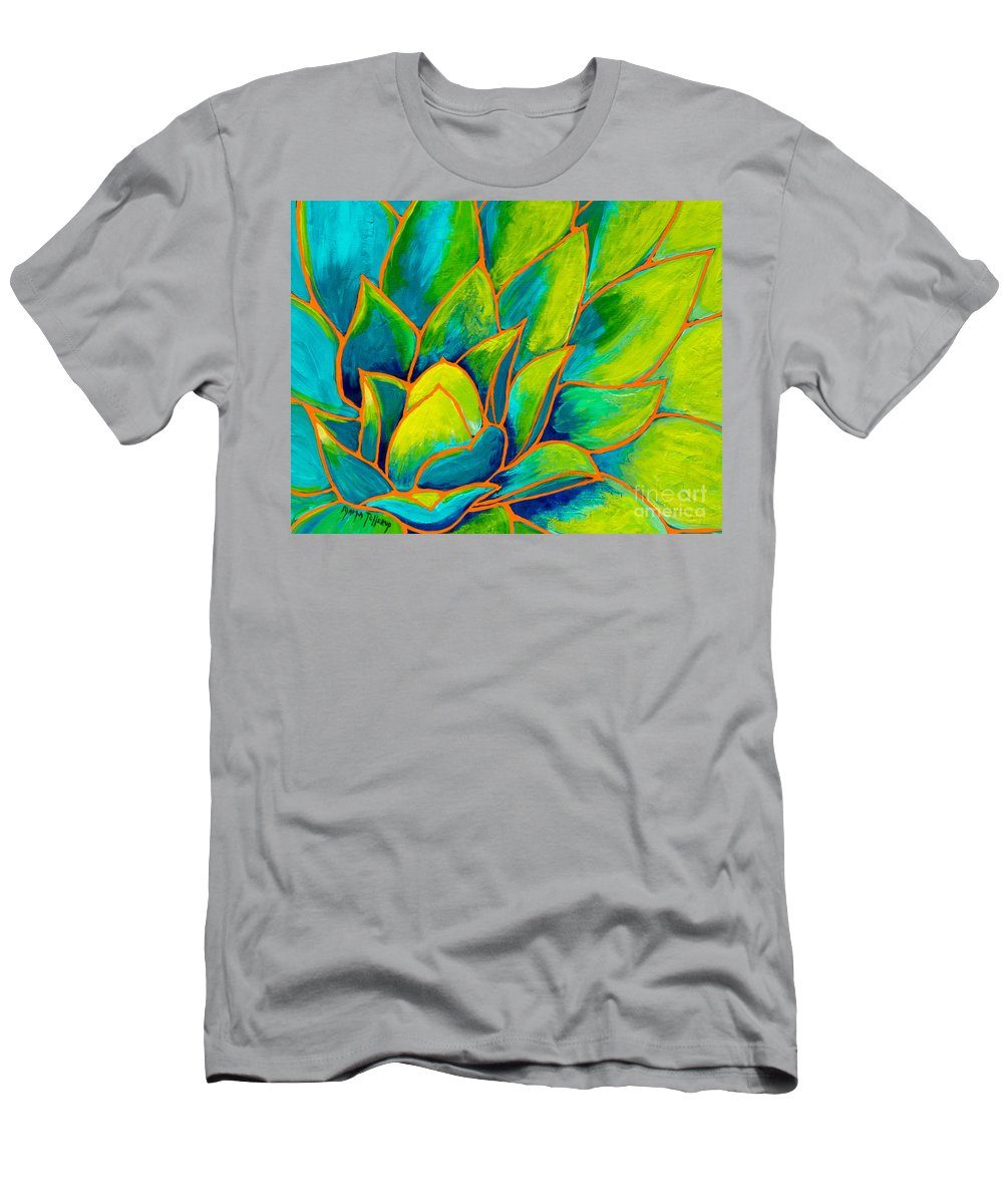 Plant Paintings Men's T-Shirt (Athletic Fit) featuring the painting Agave Glow by Marta Tollerup