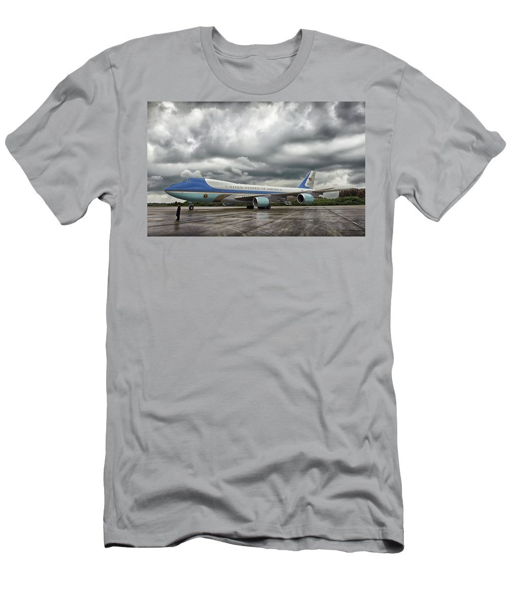 Air Force One Men's T-Shirt (Athletic Fit) featuring the photograph Air Force One by Mountain Dreams
