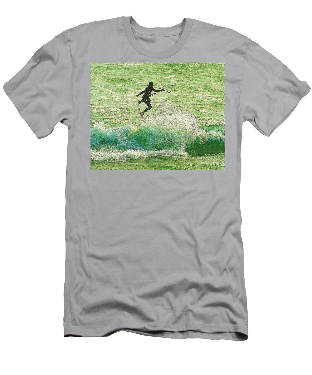 Blair Stuart Men's T-Shirt (Athletic Fit) featuring the photograph Airborne by Blair Stuart