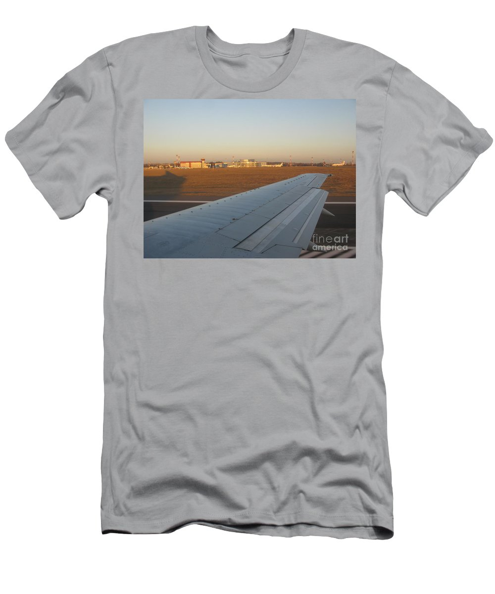 Airport Men's T-Shirt (Athletic Fit) featuring the photograph Airport At Dawn Vilnius Lithuania by Ausra Huntington nee Paulauskaite