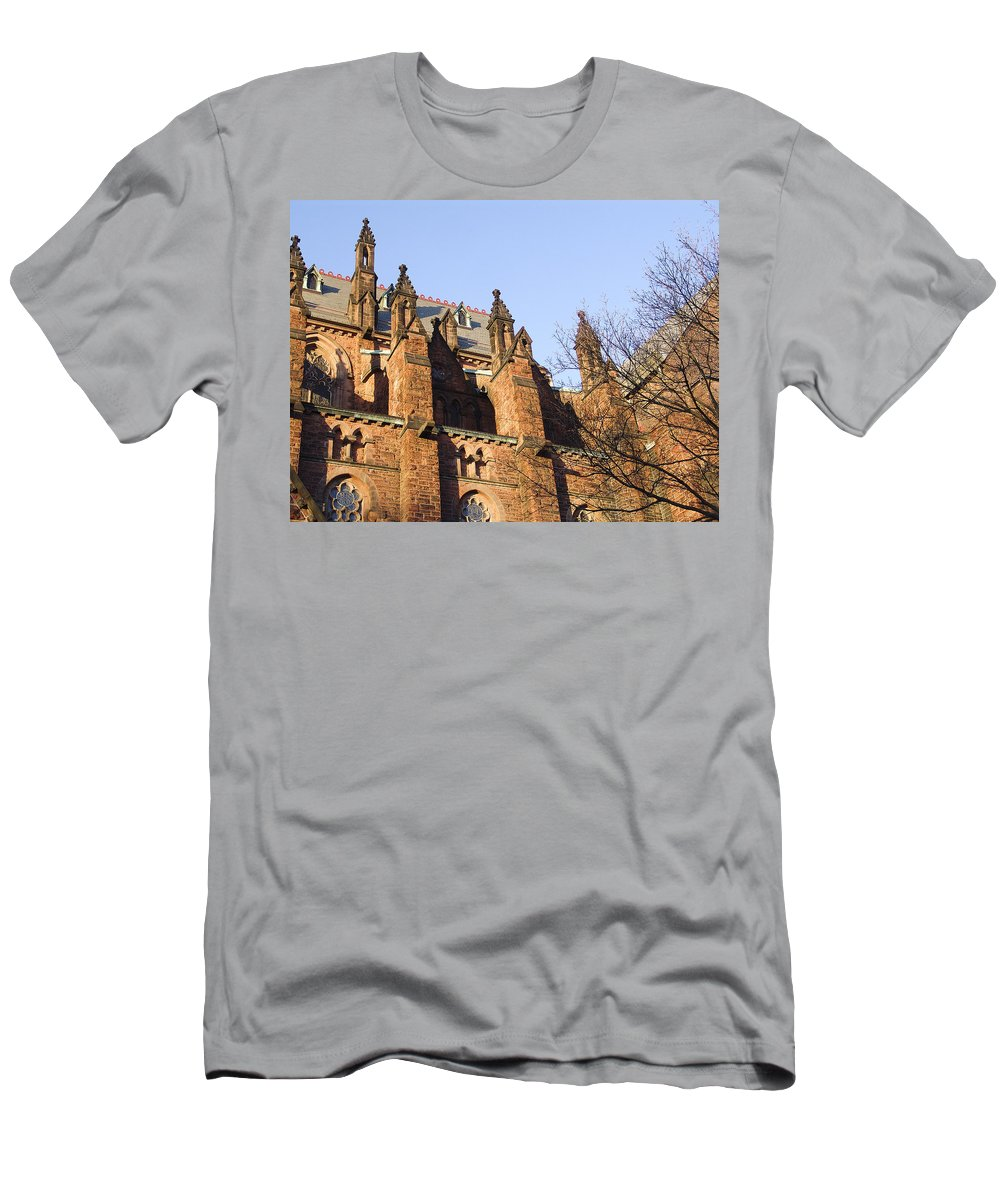 Gothic Church Men's T-Shirt (Athletic Fit) featuring the photograph Albany Church by Eric Swan