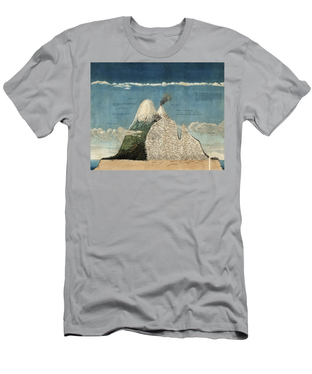 History Men's T-Shirt (Athletic Fit) featuring the photograph Alexander Von Humboldts Chimborazo Map by Science Source