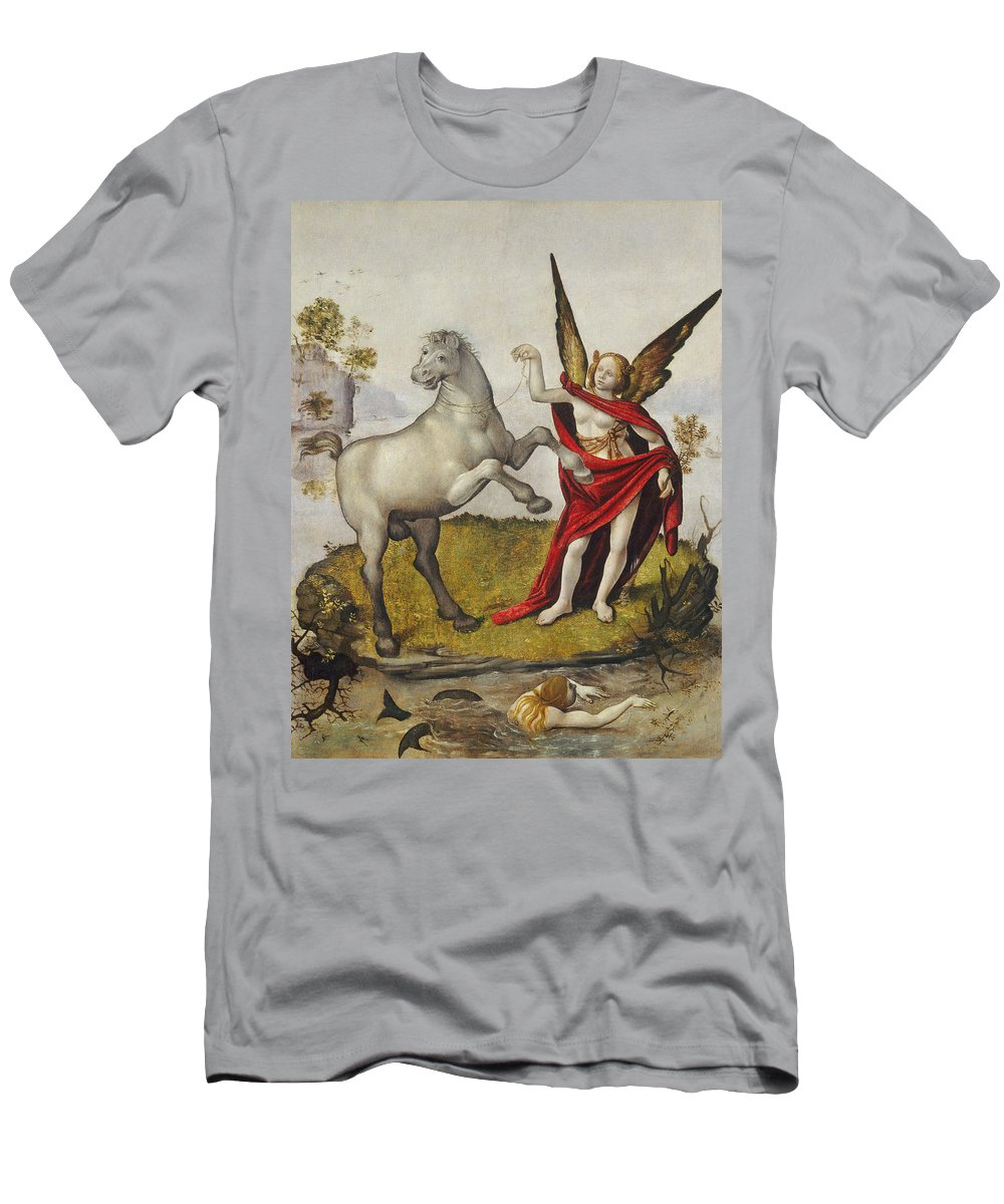 Mermaid; Horse; Winged; Female; Angel; Swimming; River; Wings; Fantasy; Mythology; Renaissance; Red Shawl; Rearing; White Men's T-Shirt (Athletic Fit) featuring the painting Allegory by Piero di Cosimo
