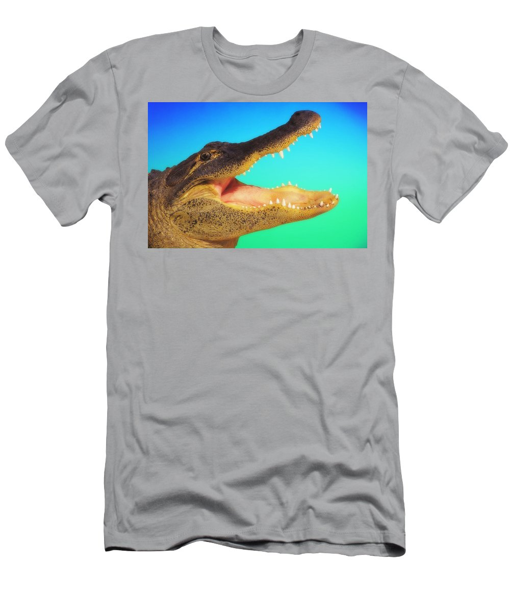Alligator Men's T-Shirt (Athletic Fit) featuring the photograph Alligator Head With Open Mouth by Thomas Kitchin & Victoria Hurst