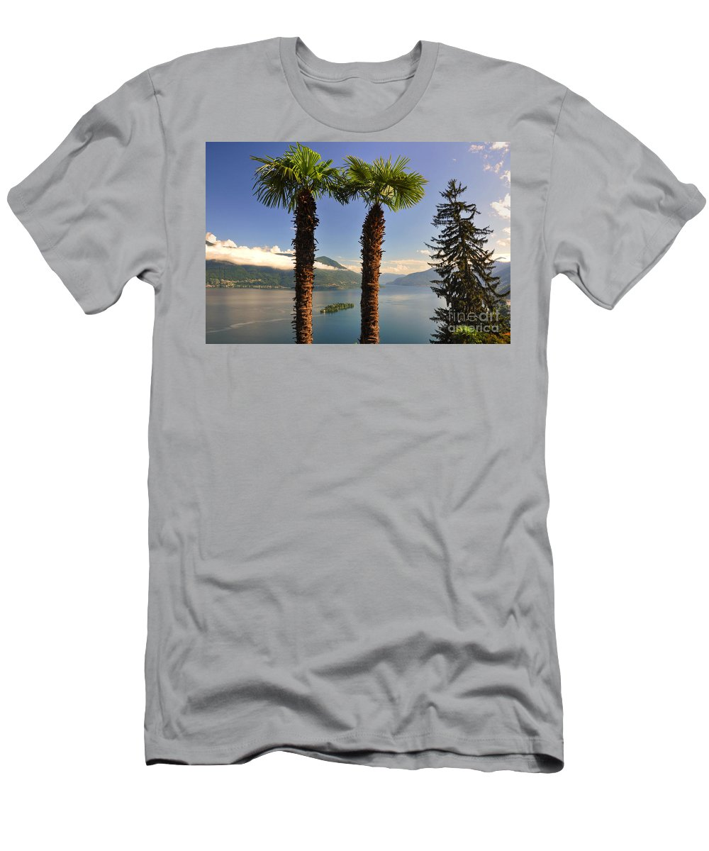 Lake Men's T-Shirt (Athletic Fit) featuring the photograph Alpine Lake With Island by Mats Silvan