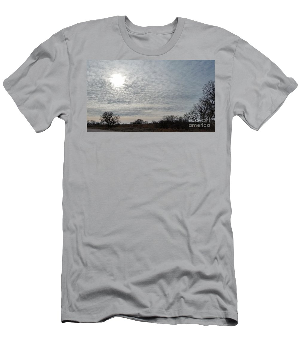 Branched Oak Lake Men's T-Shirt (Athletic Fit) featuring the photograph Altocumulus Sun by Caryl J Bohn