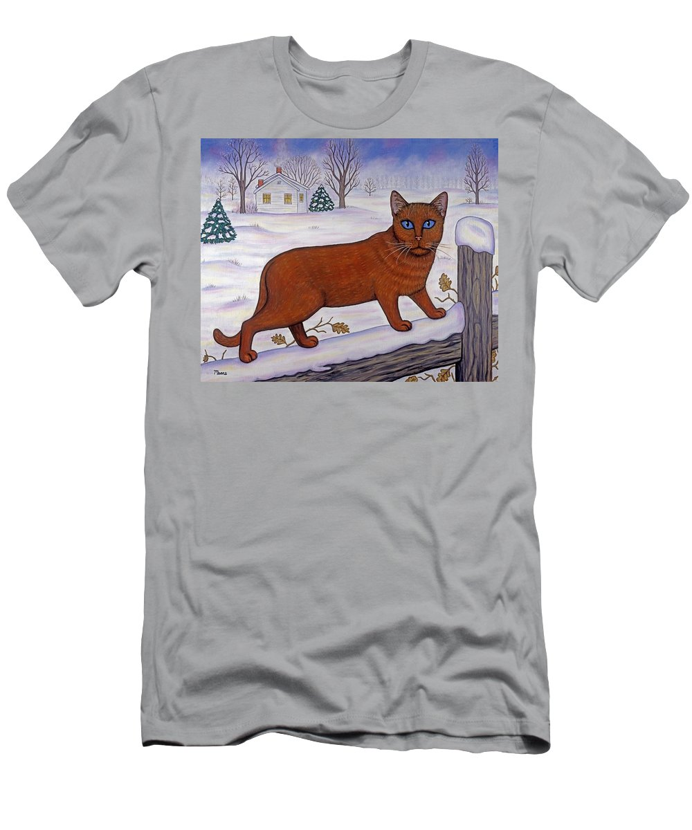 Cat Men's T-Shirt (Athletic Fit) featuring the painting Amber On White by Linda Mears