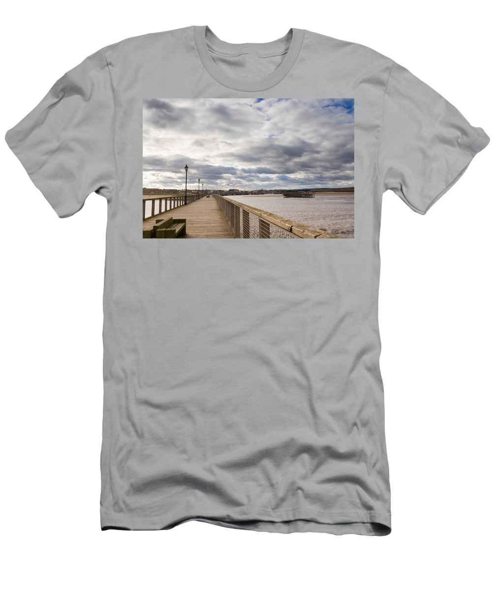 Northumberland Men's T-Shirt (Athletic Fit) featuring the photograph Amble Harbour And Village by David Head