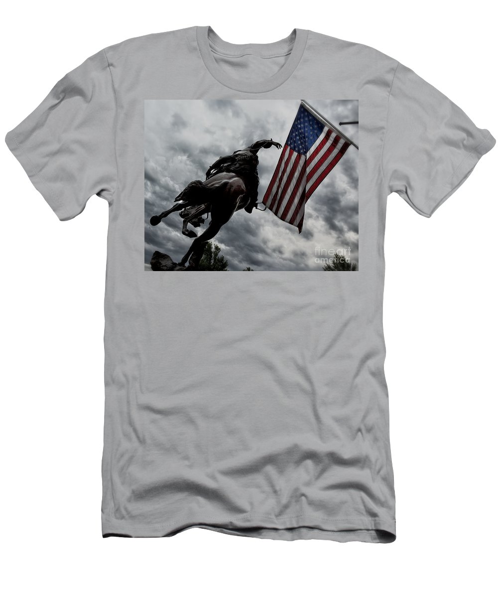 American Flag Men's T-Shirt (Athletic Fit) featuring the photograph American Spirit by Belinda Greb