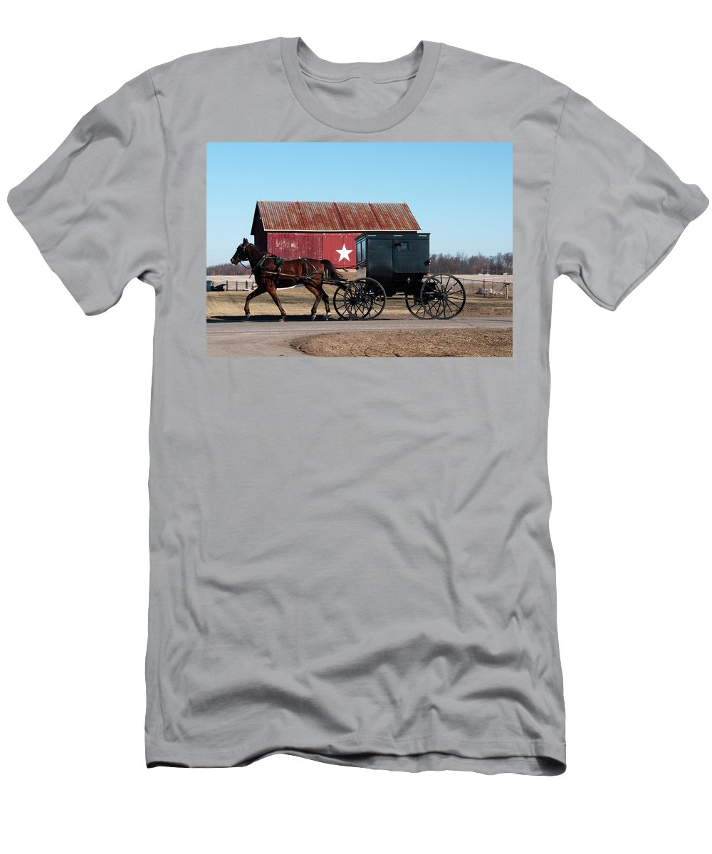 Barn Men's T-Shirt (Athletic Fit) featuring the photograph Amish Buggy And Star Barn by David Arment