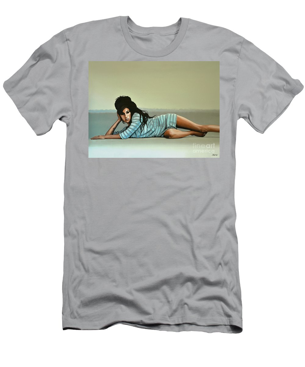 Amy Winehouse T-Shirt featuring the painting Amy Winehouse 2 by Paul Meijering