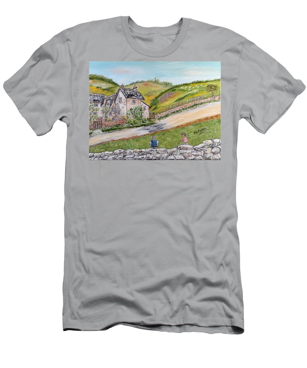 Rural Scene Men's T-Shirt (Athletic Fit) featuring the painting An Afternoon In June by Loredana Messina