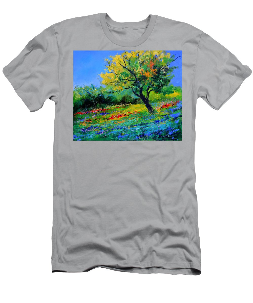 Landscape T-Shirt featuring the painting An oak amid flowers in Texas by Pol Ledent