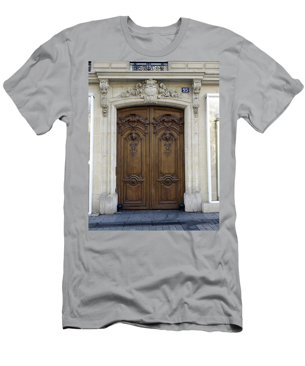 Paris Men's T-Shirt (Athletic Fit) featuring the photograph An Ornate Door On The Champs Elysees In Paris France  by Richard Rosenshein