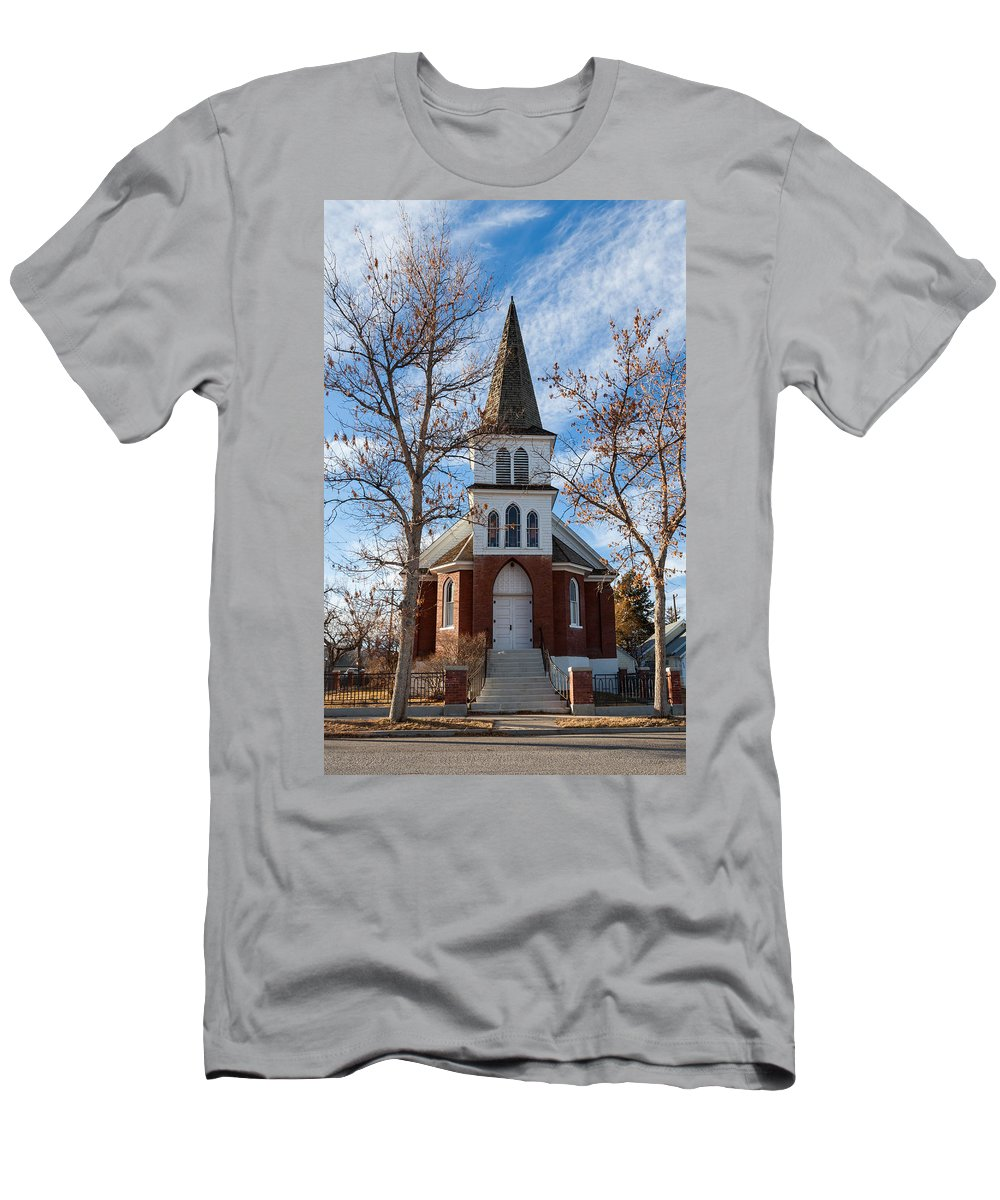 Chapel Men's T-Shirt (Athletic Fit) featuring the photograph Anaconda Christian Church by Fran Riley