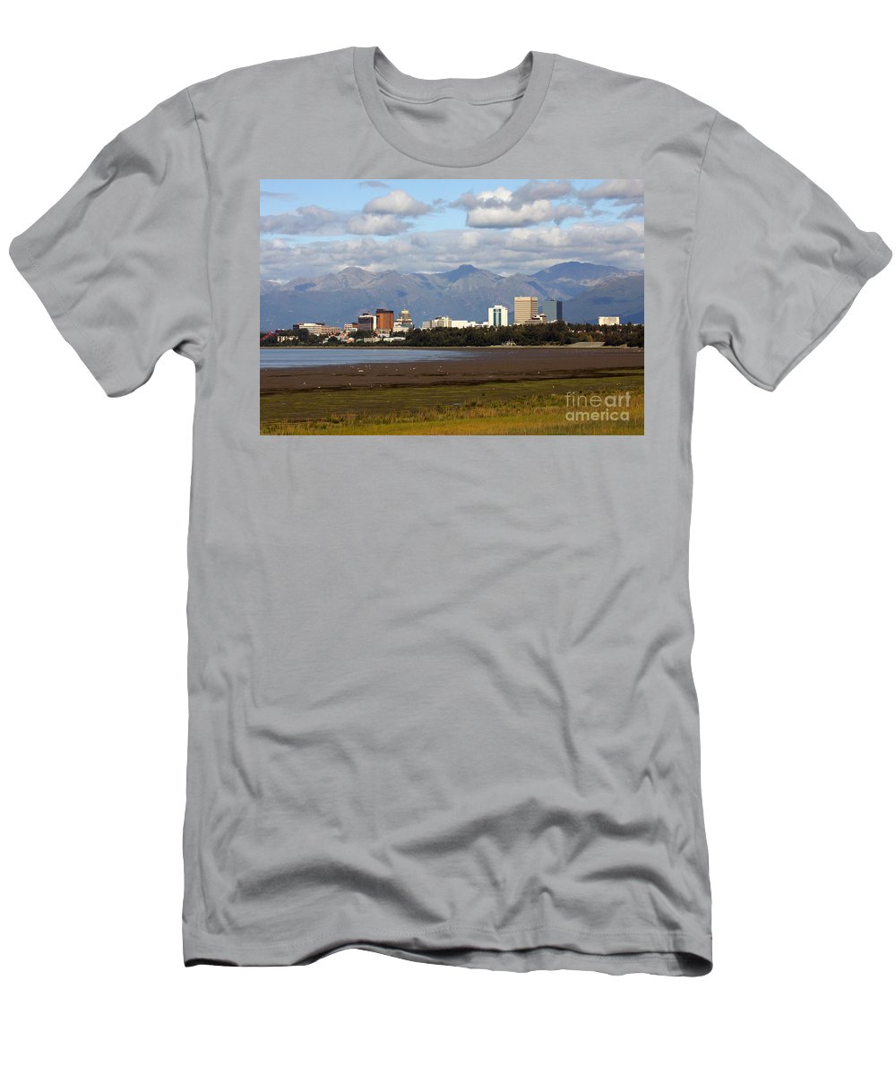 Alaska Men's T-Shirt (Athletic Fit) featuring the photograph Anchorage Alaska Skyline by Bill Cobb