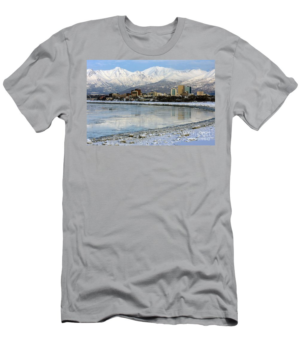 Alaska Men's T-Shirt (Athletic Fit) featuring the photograph Anchorage Cityscape by Bill Cobb