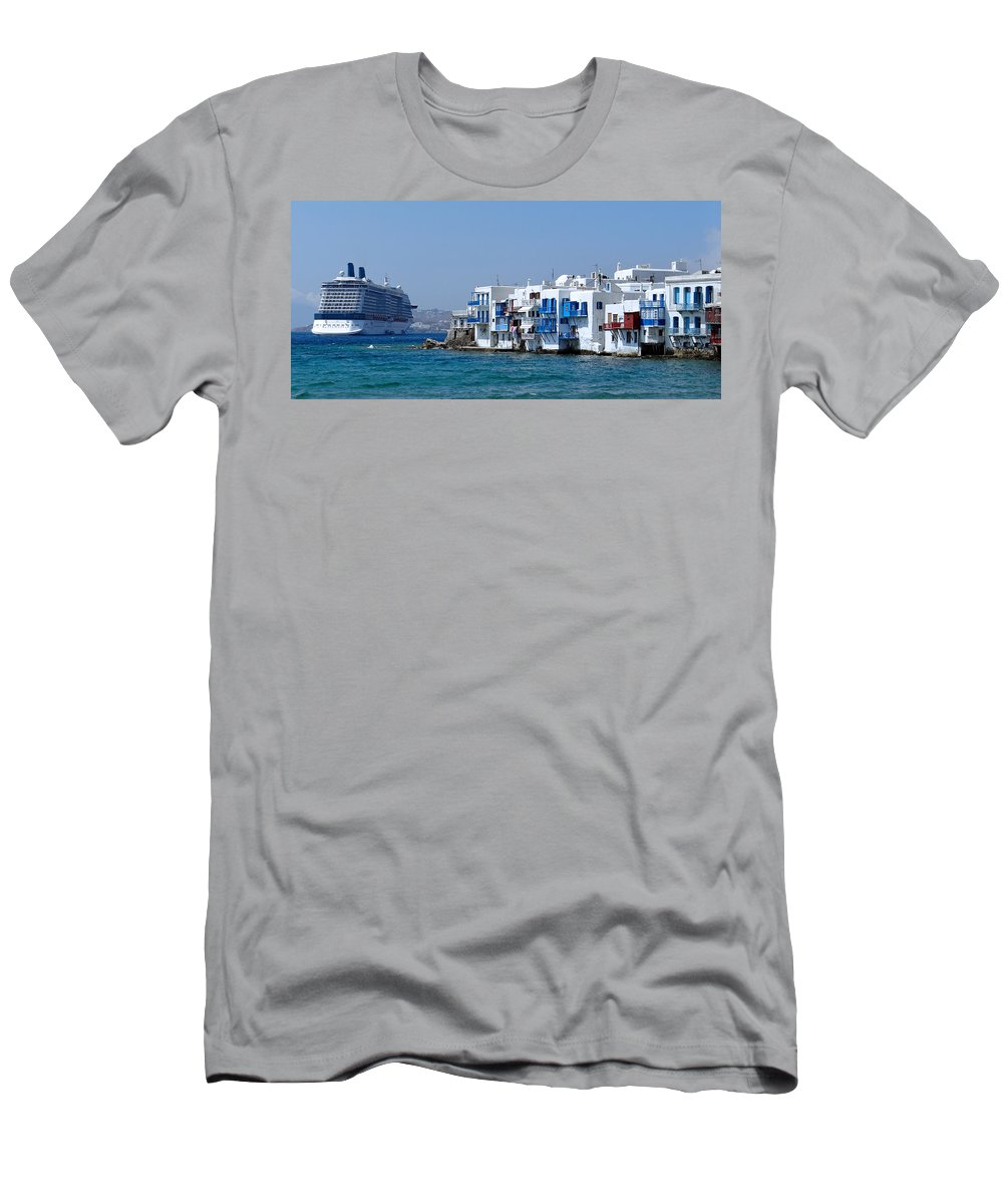 Cruise Ship Men's T-Shirt (Athletic Fit) featuring the photograph Anchored In Mykonos by Trevor McCabe