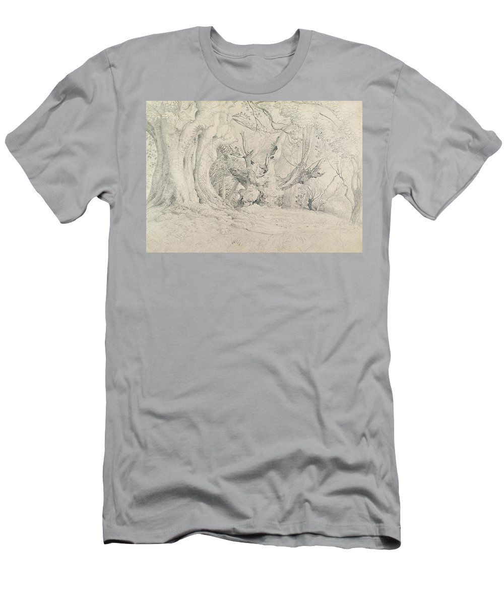 Tree Men's T-Shirt (Athletic Fit) featuring the painting Ancient Trees Lullingstone Park by Samuel Palmer