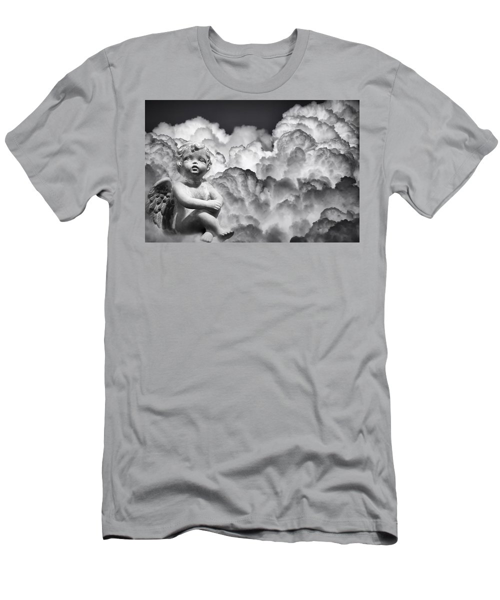 Angel Men's T-Shirt (Athletic Fit) featuring the photograph Angel In The Clouds by Carolyn Marshall