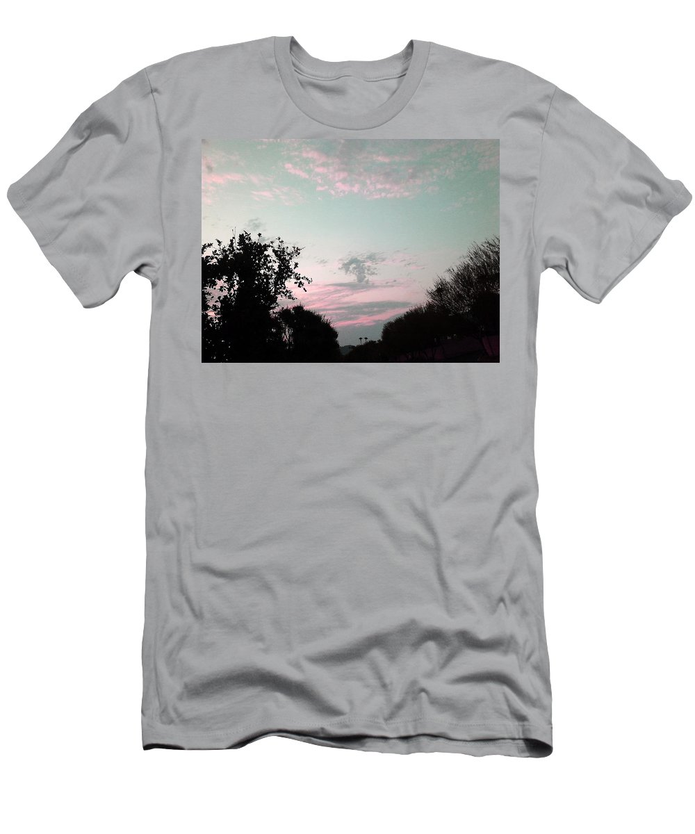 Clouds Men's T-Shirt (Athletic Fit) featuring the photograph Angel On Pink Cloud by Jay Milo