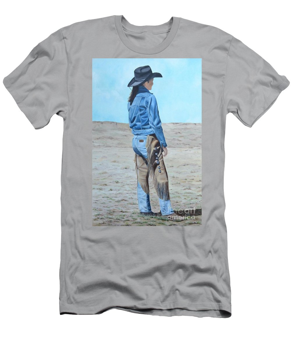 Ranch Men's T-Shirt (Athletic Fit) featuring the painting Anna After The Ride by Mary Rogers