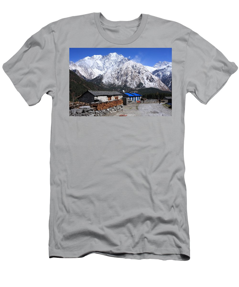 Nepal Men's T-Shirt (Athletic Fit) featuring the photograph Annapurna Mountain View, Nepal by Aidan Moran